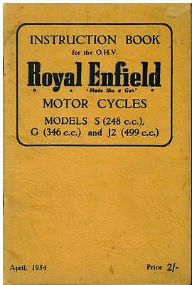 ROYAL ENFIELD MOTORCYCLE  S-248cc S-346cc & J2-499cc ohv OPERATORS MANUAL - 1954