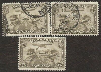 Stamp Canada, # C1, 5¢, 1937, lot of 3 used stamps.