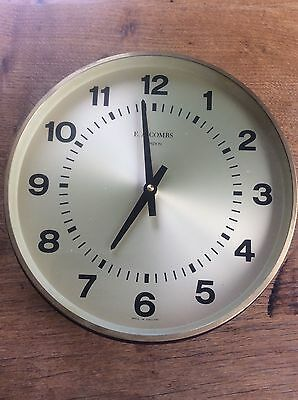 Vintage Retro Wall Clock Brass Bevel & Face by EA Combs London Fully Working