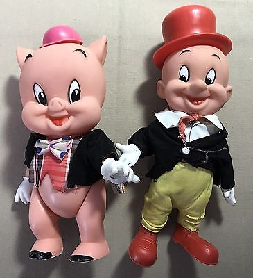 Vintage Dakin Elmer Fudd & Porky Pig Jointed w/ Clothes 1970 Looney Tunes Toons