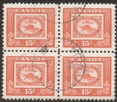 Stamp Canada, # 314, 15¢, 1951, 1 block of 4 used stamps.