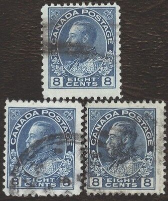 Stamps Canada # 115, 8¢, 1925, 1 lot of 3 used stamps.