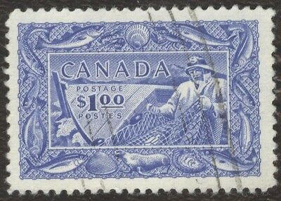 Stamp Canada # 302, $1, 1951, lot of 1 used stamp.