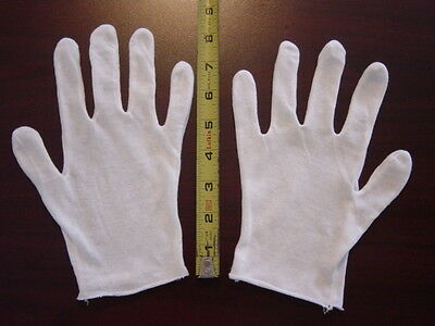 4 Pr White Cotton Film/Coin/Jewelry/Inspection Gloves - 100% Cotton, NEW!