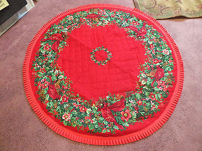 "Collectible Beautiful Quilted Table Linen Holiday Christmas 36"" Round Cardinals"