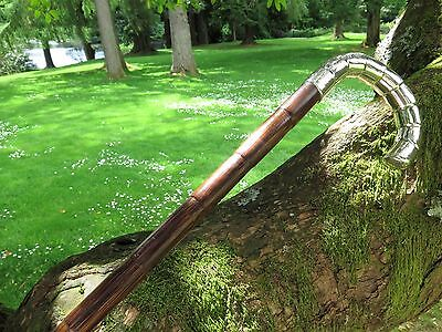 Antique Sterling Silver Crook Handled Bamboo Walking Stick ~ London 1900