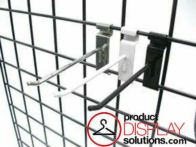 BOX 50 or 100 | 6 INCH GRID GRIDWALL HOOKS | OPTIONS: BLACK, WHITE or CHROME
