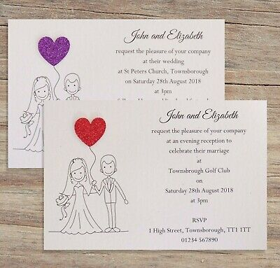 10 Wedding Invitations / Evening Invites Personalised & Handmade with Envelopes