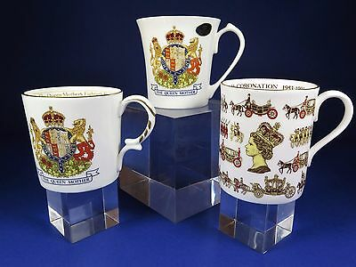 Aynsley & Royal Worcester Commemorative China Mugs ~ Elizabeth II & Queen Mother