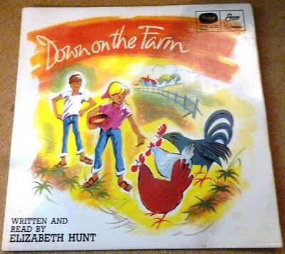 Down on the Farm read and autographed by Elizabeth Hunt 7 inch vinyl record