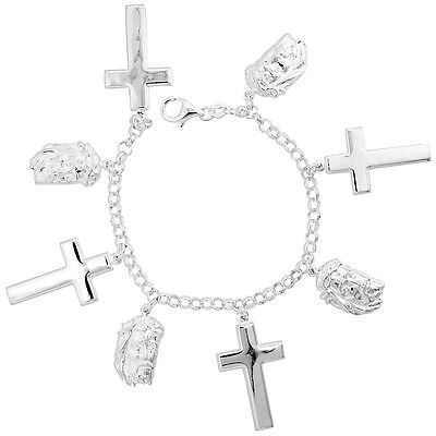 """Sterling Silver Charm Bracelet w/ Crosses & Jesus with Crown of Thorns , 1 1/16"""""""