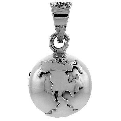 Sterling Silver Globe Harmony Ball Pendant Handmade, 3/4 inch with snake chain.