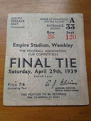1939 FA Cup Final Tie Ticket Stub  - Portsmouth Vs Wolves (Genuine!)