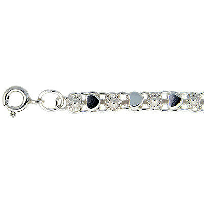 Sterling Silver Anklet with Heart & Flower Links, fits 9 - 10 inch ankles
