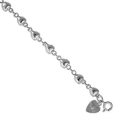 Sterling Silver Anklet with puffy Hearts, fits 9 - 10 inch ankles