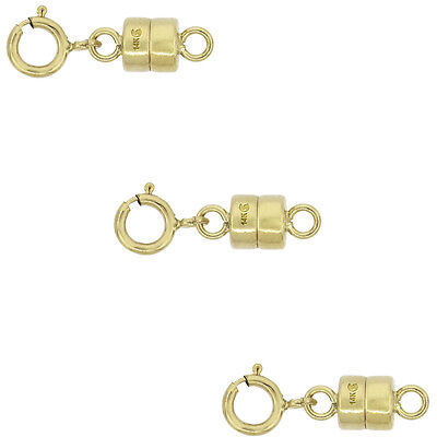 3 PACK 14k Gold 4 mm Magnetic Clasp Converter for Light Necklaces USA, Square