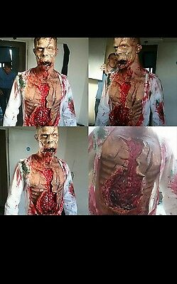 male zombie latex prosthetic mask and chest set