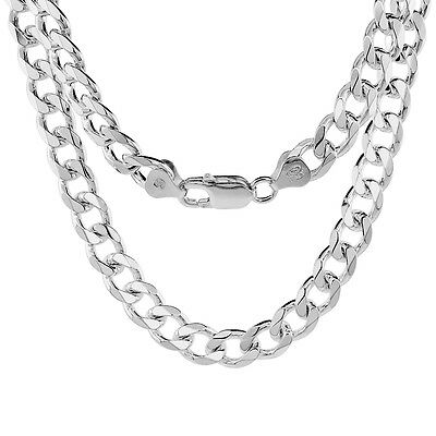Sterling Silver Curb Cuban Link Chain Bracelet 8mm Beveled Edges Nickel Free