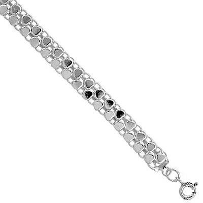 Sterling Silver Charm Bracelet with Teeny Polished Hearts, fits 8 - 9 inch