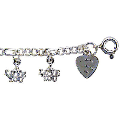 "Sterling Silver ""I LOVE YOU"" Anklet, fits 9 - 10 inch ankles"
