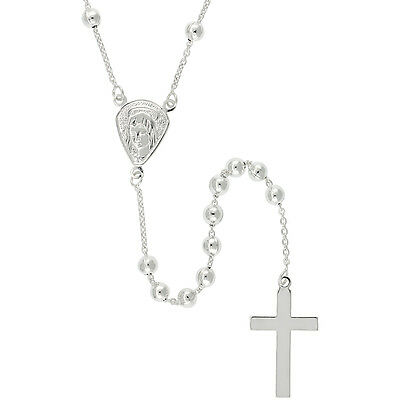 Sterling Silver Rosary Necklace 4 mm Beads made in Italy, 30 inch