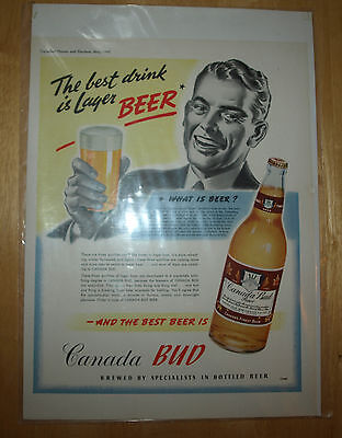 Vintage 1942 Canada Bud Beer Printed Advertisement Add Commercial