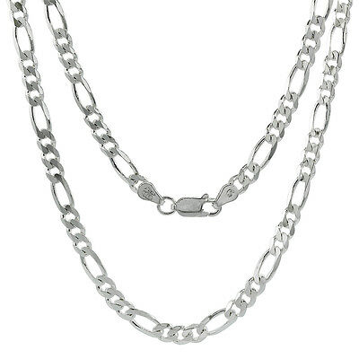 Sterling Silver Figaro Link Chain Necklace 4.5mm Beveled Edges Nickel Free