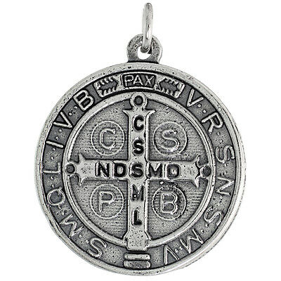 Sterling Silver St Benedict Medal Necklace, Round 15/16 inch