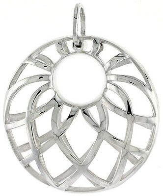 Sterling Silver Round Pendant, 1 1/8 inch long