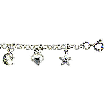 Sterling Silver Rolo Link Anklet with Moon, Star & Heart Charms, fits 9 - 10