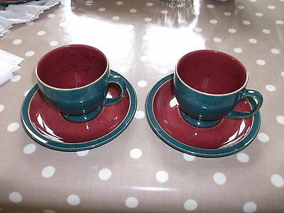 2 X Denby Harlequin -  Green and Red Cup and Saucer