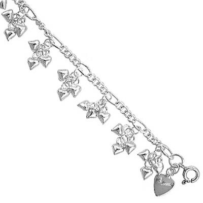Sterling Silver Charm Bracelet with Dangling Teeny Hearts, fits 8 - 9 inch