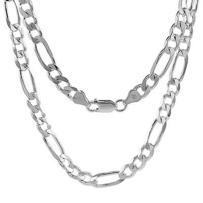 Sterling Silver Figaro Link Chain Necklace 6.6mm Beveled Edges Nickel Free