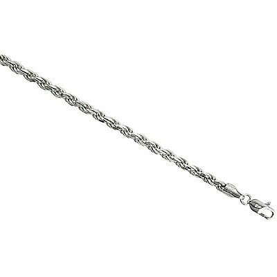 Sterling Silver Rope Chain Necklace 4mm Medium Thick Diamond cut Nickel Free
