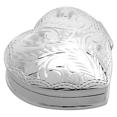 Sterling Silver Pill Box Heart Shape, Engraved Finish, 1 1/4 x 1 1/4 inch