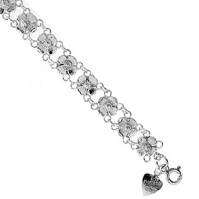 Sterling Silver Charm Bracelet with Flowers, fits 8 - 9 inch wrists