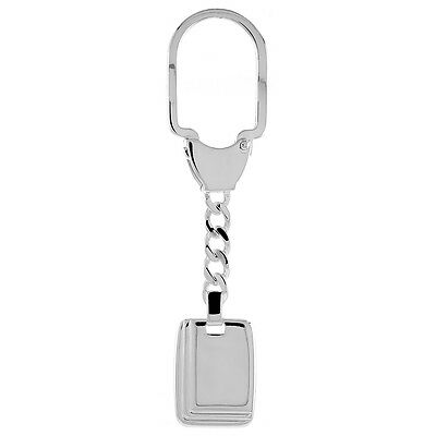 Sterling Silver Key Ring with Rectangular Tag, 3 1/2 inches long
