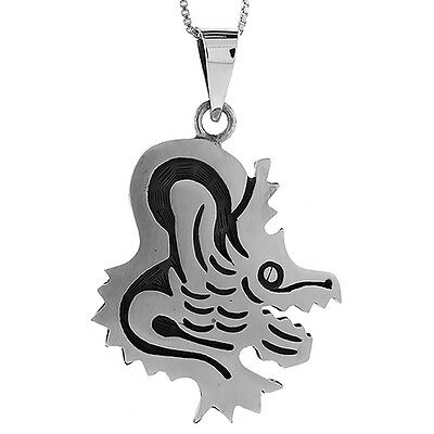 Sterling Silver Coyote Pendant Handmade, 1 1/2 inch long
