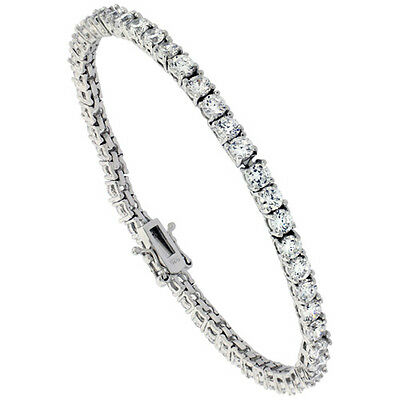 Sterling Silver CZ Tennis Bracelet 8.3 ct. size 3.5 mm stones Rhodium finished,