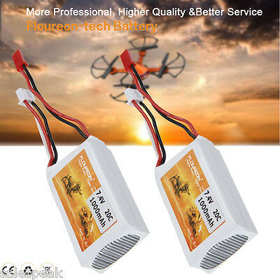 2pcs 2S 7.4V 1000mAh 20C Li-Po Battery JST for RC Car Truggy Helicopter Airplane