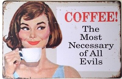 Retro Metal Wall Sign Tin Plaque Vintage Shabby Chic Coffee Funny Kitchen Diner