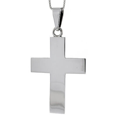Sterling Silver Cross Pendant Highly Polished Handmade, 2 1/2 inch