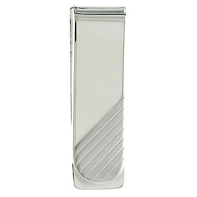 Sterling Silver Money Clip Diagonal Stripes made in Italy 2 x 5/8 inch