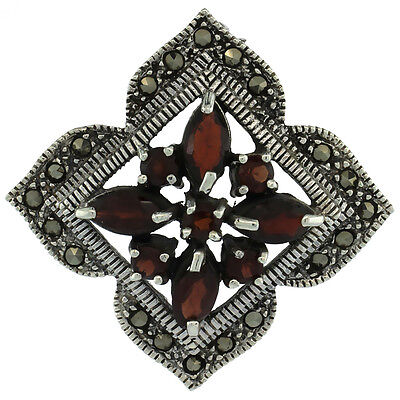 Sterling Silver Marcasite Clover Brooch Pin w/ Round & Marquise Cut Garnet