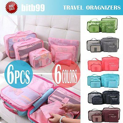 6PCS Travel Luggage Organizer Backpack Storage Pouches Suitcase Packing Bags MX