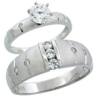 Sterling Silver Cubic Zirconia Engagement Rings Set for Him & Her 1/2 ct size,
