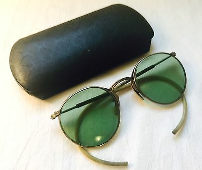 ANTIQUE Silver Tone FUL-VUE Safety GREEN Tinted Eyeglasses with Case