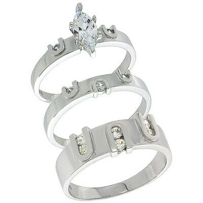 Sterling Silver Cubic Zirconia Trio Engagement Wedding Ring Set for Him and Her,