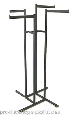 4 Way Clothing Garment Display Rack With 4 Straight Blade Arms | BLACK