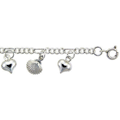 Sterling Silver Anklet with Hearts and Shells, fits 9 - 10 inch ankles